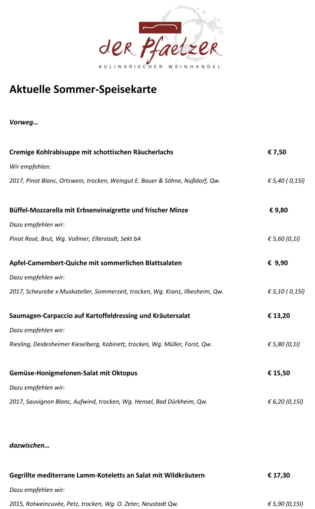 Aktuelle Gerichte - Kulinarischer Weinhandel Bergisch Gladbach - Der ...